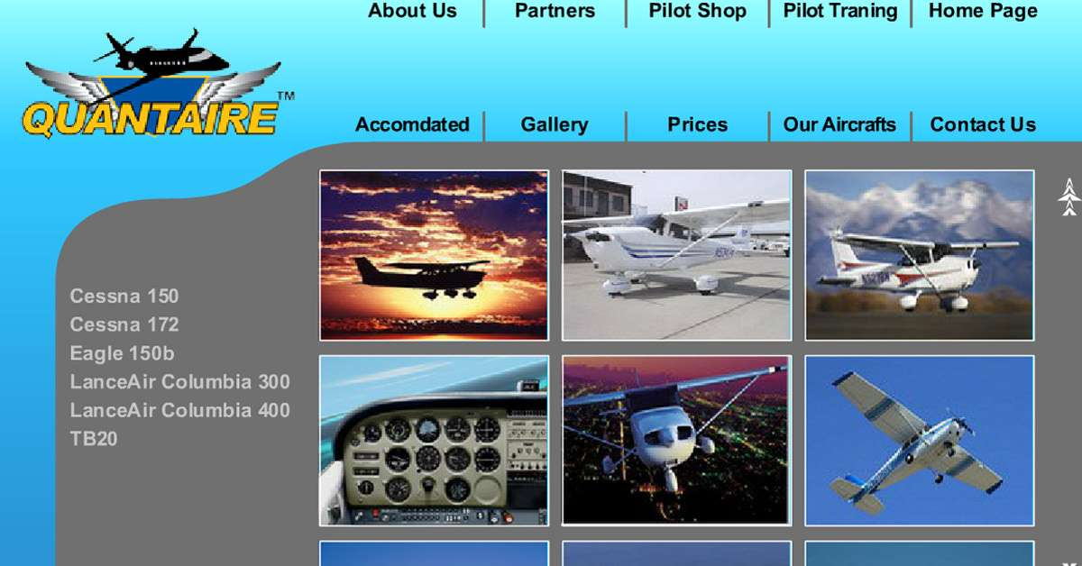 FlyQuantaire Aviation Website Gallery Page