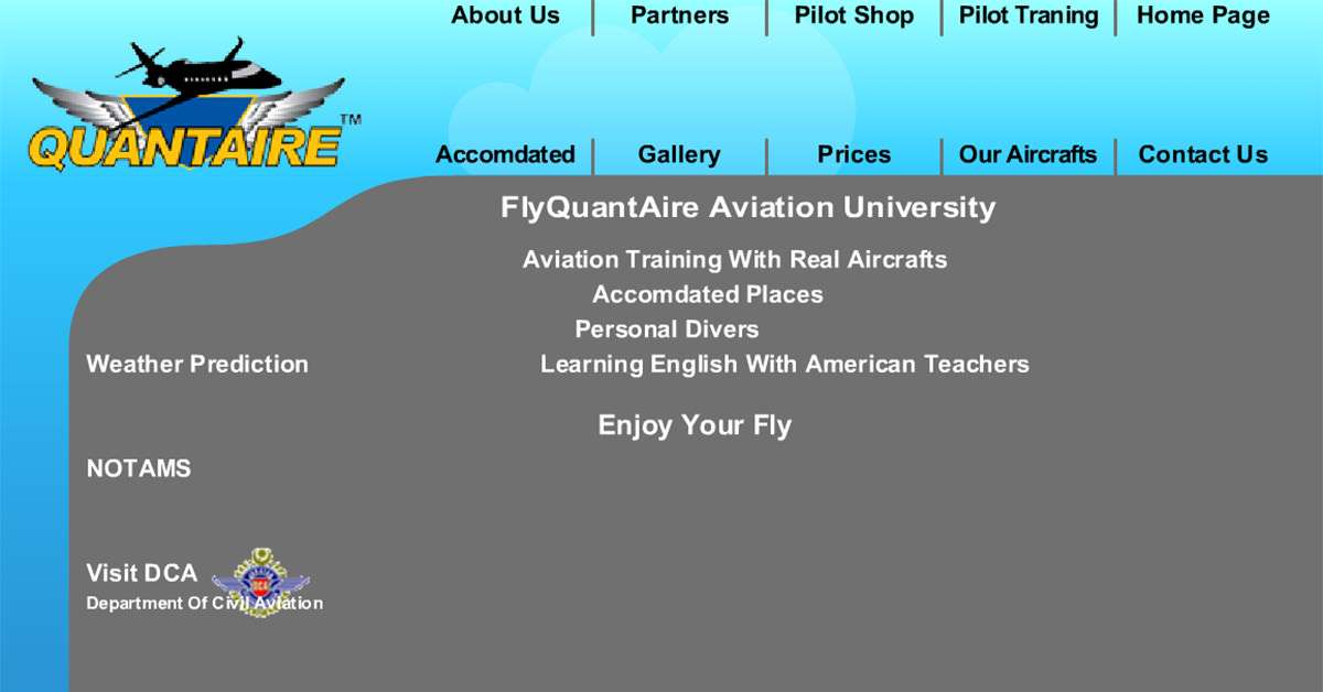 FlyQuantaire Aviation Website Home Page