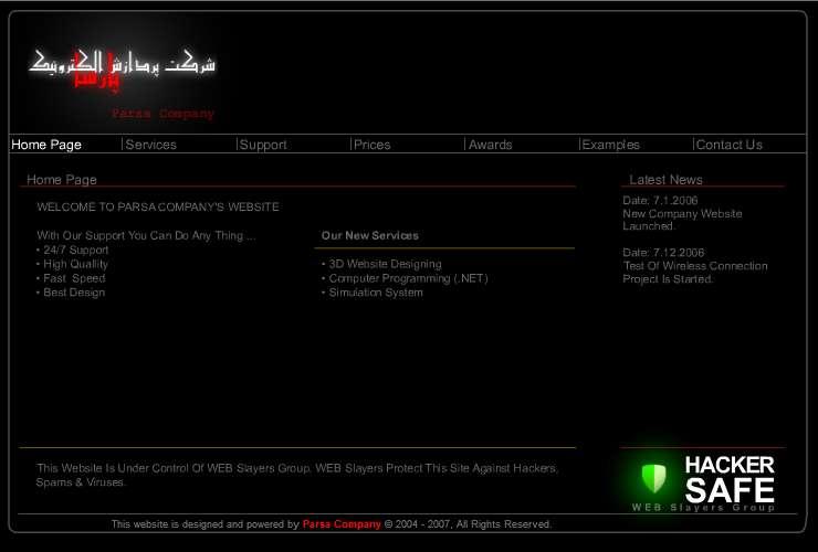 Parsa Team Inc. company website 2007