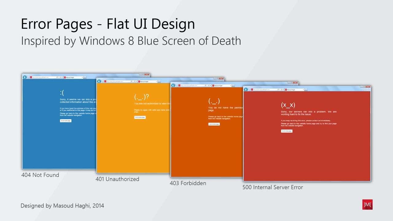 Web Error Handler Documents using Flat UI design concept